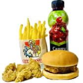 L ქიდსი: საბავშო ჩიზბურგერი, ქათმის პატარა პოპკორნი, პატრა ფრი + კაპი