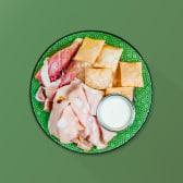 Mini gnocco fritto e crudo di Parma e mortadella di Bologna