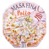 Pizza congelada pollo con salsa queso mascarpone masa fina y crujiente