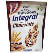 Cereales copos de arroz integral bañados en chocolate con leche