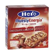 Barritas de cereales y chocolate con leche muesly energía