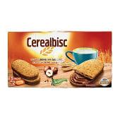 Galletas con cereales rellenas crema sabor avellana (cerealbisc)