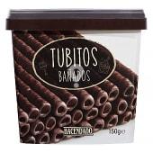 Barquillo tubitos bañados chocolate negro para helado y postre