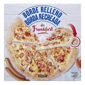 Pizza congelada con borde relleno frankfurt (cebolla, crema queso y frankfurt)