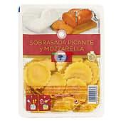 Pasta fresca girasoles de sobrasada picante y mozzarella
