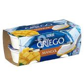Yogur griego natural azucarado con mango