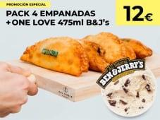 Pack de 4 Empanadas + Helado.