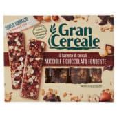 Barilla, Gran Cereale, barrette di cereali nocciole e cioccolato fondente 5 pezzi 135 g
