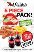 6 Pieces + Large Chips + 2 x 350ml Soda