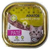 Comida gato adultos pate pollo pavo
