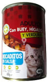 Comida gato adultos bocaditos salsa buey higado