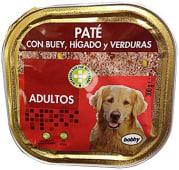 Comida perro pate buey higado verdura adulto razas medianas y grandes