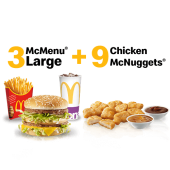 3 McMenu Large + 9 Chicken McNuggets