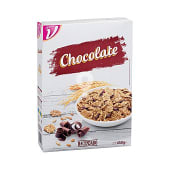 Cereal copos arroz trigo integral chocolate