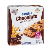 Barrita cereales arroz y trigo integral chocolate leche linea v