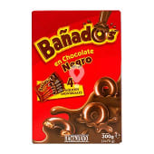 Galleta bañados en chocolate negro (forma aros)
