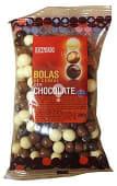 Chocolatina bola cereal cubierta chocolate (blanco, con leche, negro)