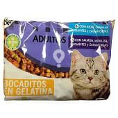 Comida gato adulto (atun, gambas, guisantes Y zanahorias) + (salmon, merluza, guisantes Y zanahoria)