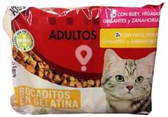 Comida gato adultos bocaditos gelatina (buey, higado, guisantes, zanahorias) + (pato, pollo, guisantes, zanahorias)