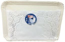 Bandeja desechable carton rectangular 25x34 cm + blonda papel blanco 4 u 31x38 cm