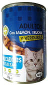 Comida gato adultos bocaditos salsa salmon trucha y verduras
