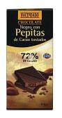 Chocolate negro con pepitas cacao tostadas (72% cacao)