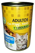 Comida gato adultos bocaditos salsa pollo pavo y verduras