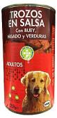 Comida perro trozos buey higado verdura adulto razas medianas y grandes