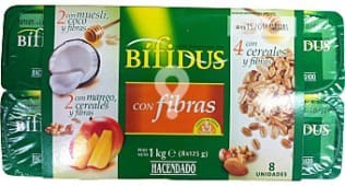 Yogur bifidus fibras trozos (cereales / muesli-coco / cereales-mango)