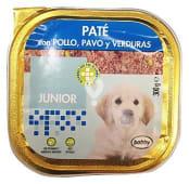 Comida perro pate pollo, pavo y verduras junior razas medianas y grandes