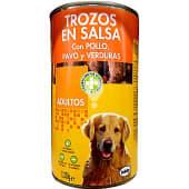 Comida perro trozos pavo pollo y verduras adulto razas medianas y grandes