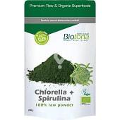 Polvo puro de algas Chlorella y Spirulina 100% Bio
