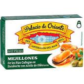 Mejillones en escabeche fritos con aceite de oliva de las rías gallegas
