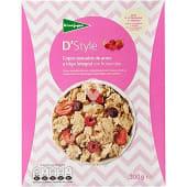 Cereales de desayuno en copos tostados de arroz y trigo integral con frutos rojos