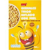 Cereales de desayuno de trigo inflado con miel con 8 vitaminas y hierro