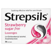 Strepsils Lozenges Strawberry 36s (Sugar free)