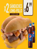 2 Sanduches Lomo Y Pollo + 2 Pepsi 400Ml