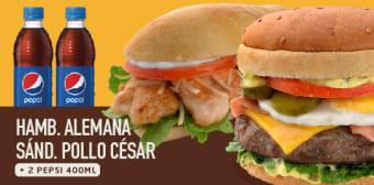 1 Hamburguesa Alemana + 1 Sandwich Pollo Cesar+ 2 Gaseosas Pepsi 400 Ml