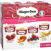 Tarrinas de helado sabores fruta 4 unidades 100 ml estuche 400 ml