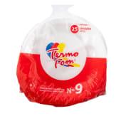 Platos De Foam Termo Fom No.9, 25 Unidades