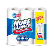 Papel Toalla Nube Blanca 3 Rollos, 180 Hojas