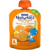plátano naranja y galleta 100% natural con vitamina C formato bolsita pouche