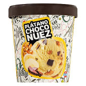 Helado plátano con chocolate y nueces
