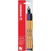 Stabilo point 88 Penna extra-fine, punta 0.4 mm, 3 pezzi, colori nero, blu e rosso