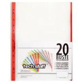 Tech staff, Cartellette trasparenti con foratura universale in polipropilene, bordo colorato, finitura liscia, misura 22x30 cm, 20 pezzi