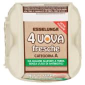 Esselunga, 4 uova fresche da allevamento a terra senza antibiotici categoria A