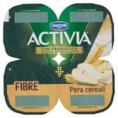 Danone, Activia Fibre latte fermentato alla pera e cereali conf. 4x125 g, pera/cereali