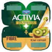 Danone, Activia Fibre latte fermentato al kiwi e cereali conf. 4x125 g, kiwi/cereali
