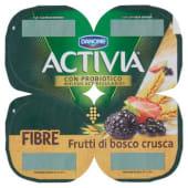 Danone, Activia Fibre latte fermentato ai frutti di bosco e crusca conf. 4x125 g, frutti di bosco/crusca