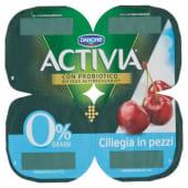 Danone, Activia 0% Grassi latte fermentato con ciliegia in pezzi conf. 4x125 g